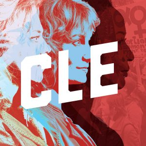"three faces with 'CLE"" superimposed"