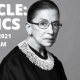 Black and White photo of Ruth Bader Ginsburg, with date and time listed